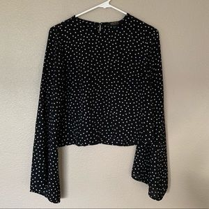 F21 Contemporary Polka Dot Bell Sleeve Blouse